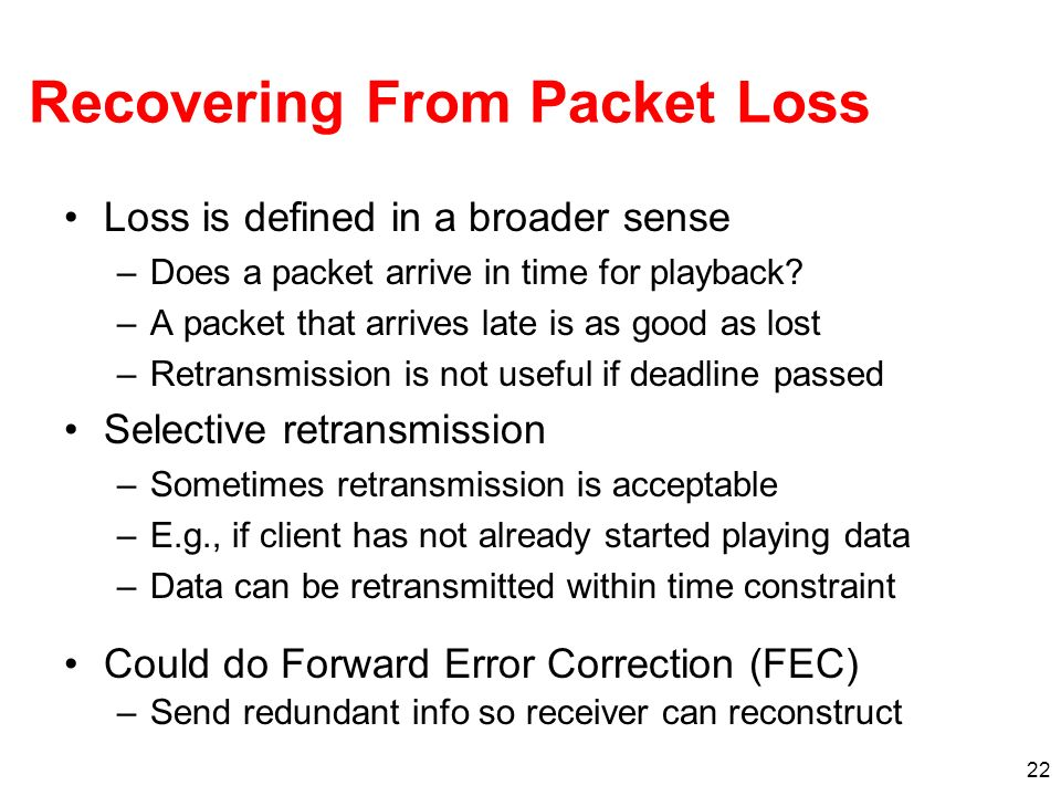 Recovering From Packet Loss