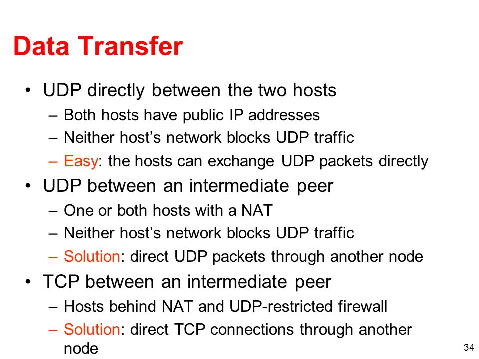 Data Transfer UDP directly between the two hosts