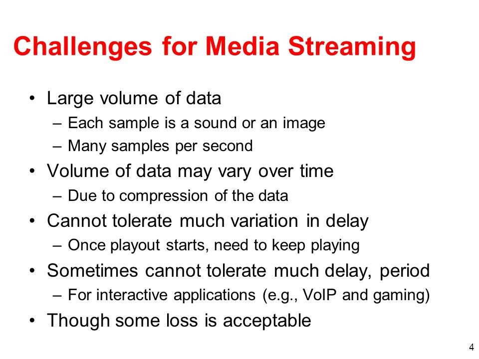 Challenges for Media Streaming