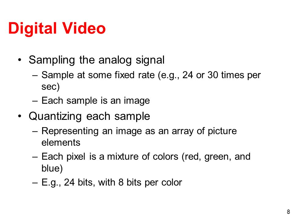 Digital Video Sampling the analog signal Quantizing each sample