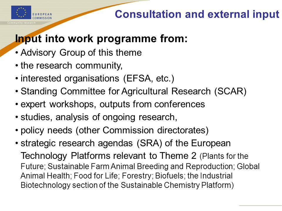 Consultation and external input