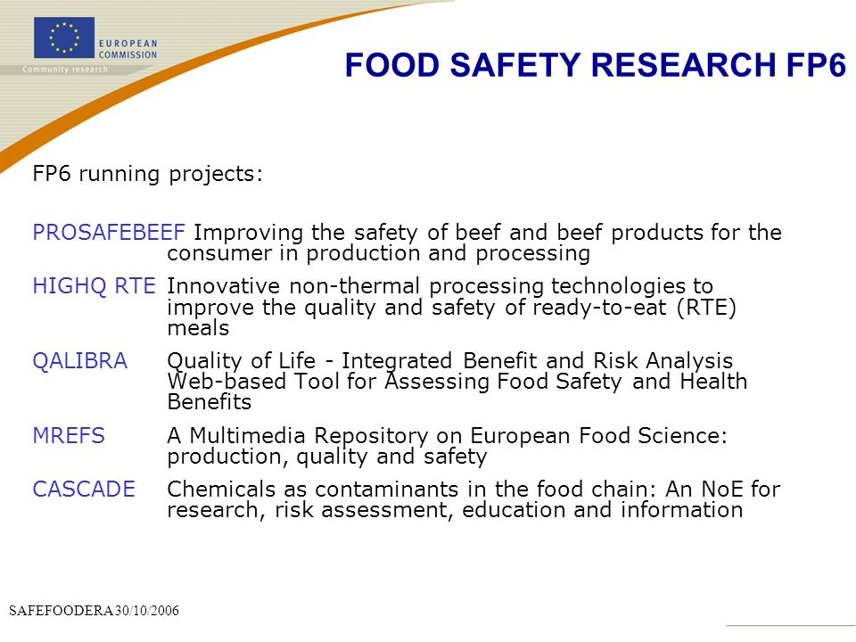 FOOD SAFETY RESEARCH FP6
