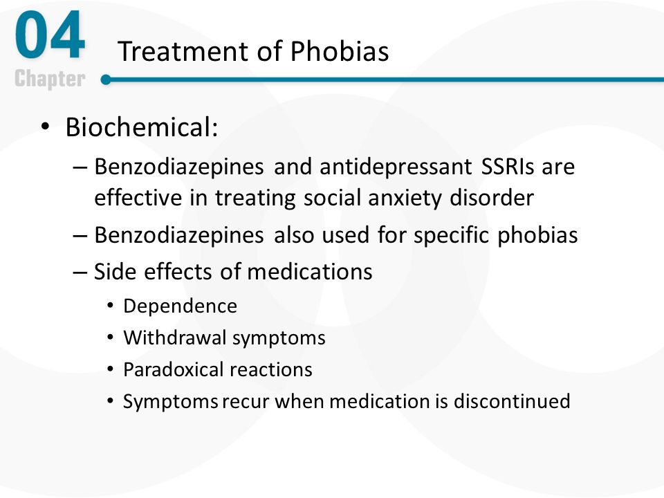 biological therapies phobic disorders Phobias are mainly treated using psychological rather than biological methods however, biological therapies can have their place - they can reduce the.