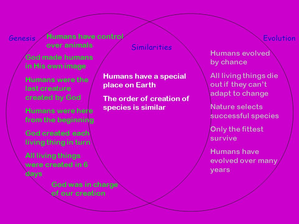 a comparison of the concepts of creation and evolution Theory of evolution edit  (see creation-evolution  sequence comparison is considered a measure robust enough to be used to correct erroneous.
