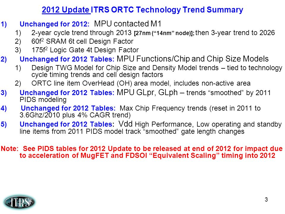 2012 Update ITRS ORTC Technology Trend Summary