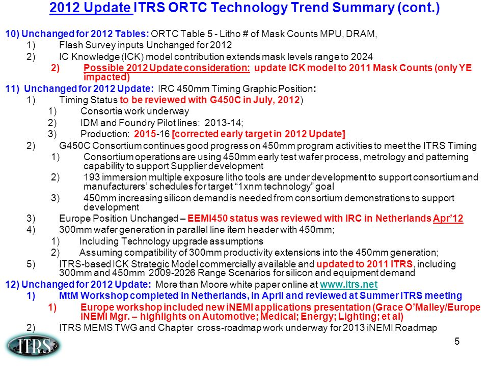 2012 Update ITRS ORTC Technology Trend Summary (cont.)