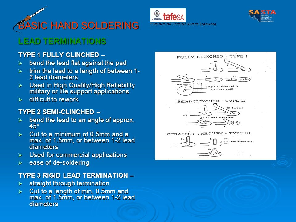 BASIC HAND SOLDERING LEAD TERMINATIONS TYPE 1 FULLY CLINCHED –
