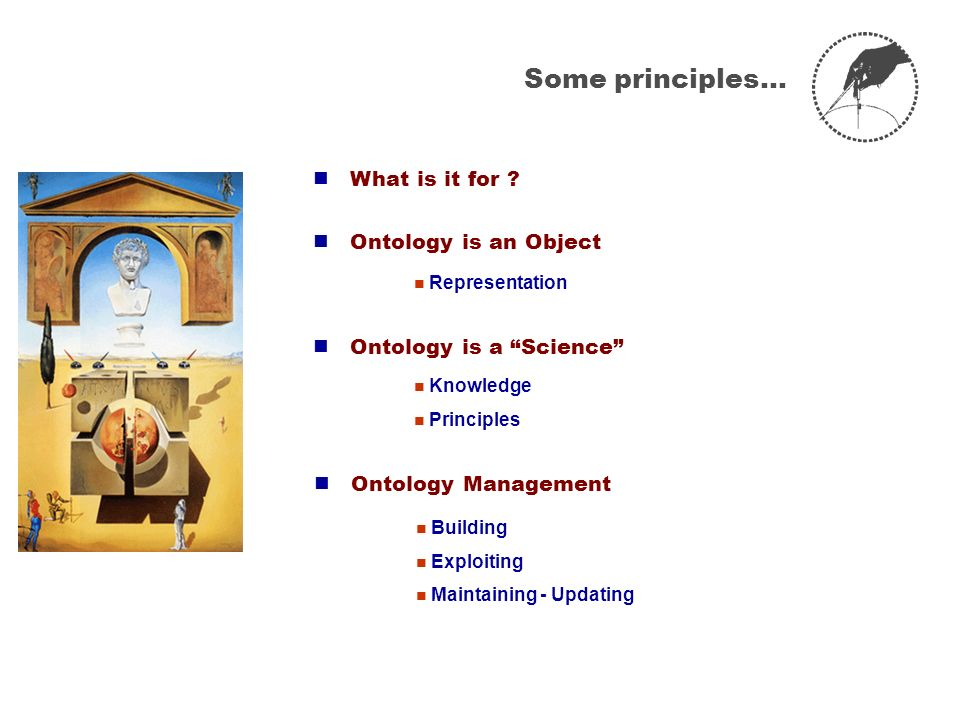Some principles…  What is it for  Ontology is an Object