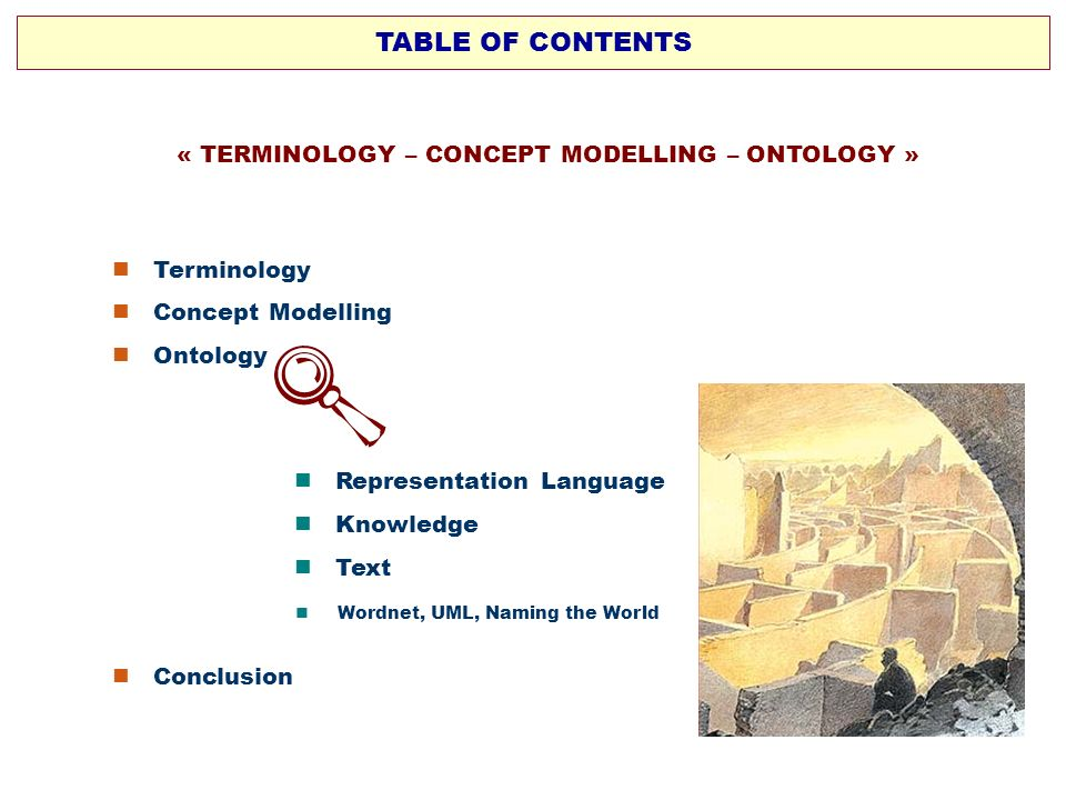 « TERMINOLOGY – CONCEPT MODELLING – ONTOLOGY »