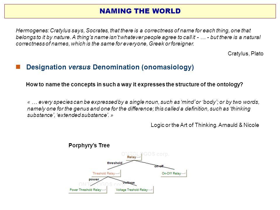  Designation versus Denomination (onomasiology)