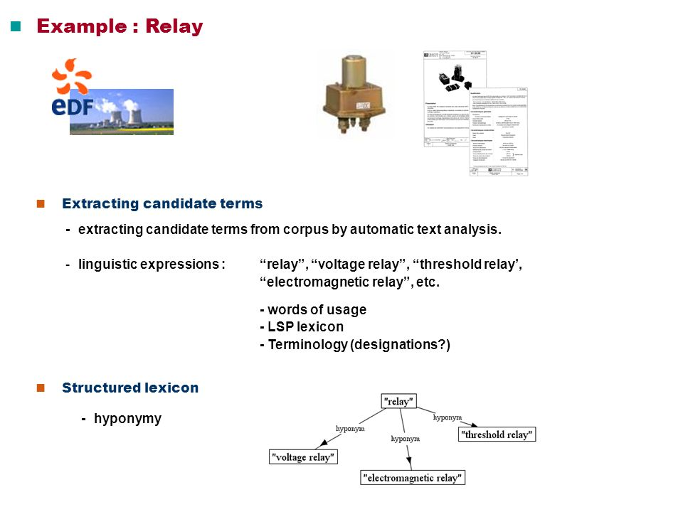  Example : Relay  Extracting candidate terms