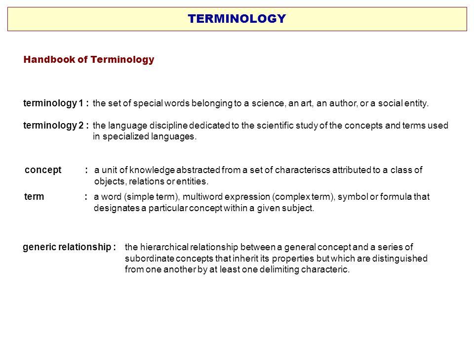 TERMINOLOGY Handbook of Terminology