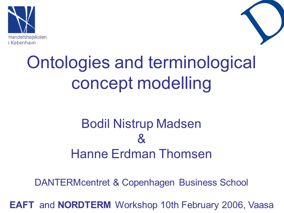 Ontologies and terminological concept modelling