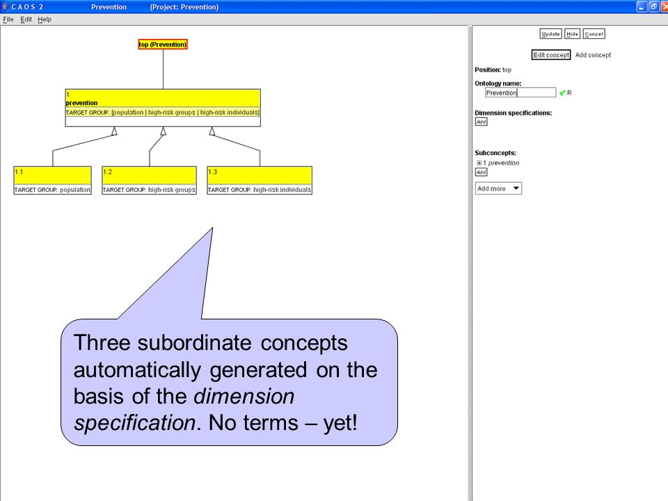 Three subordinate concepts automatically generated on the basis of the dimension specification.