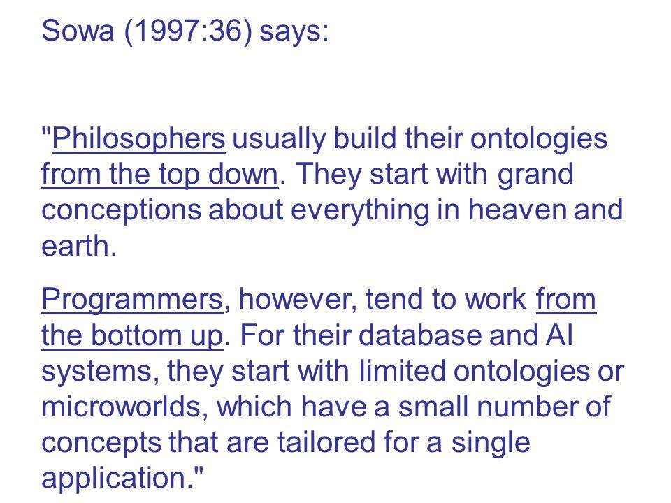 Sowa (1997:36) says: