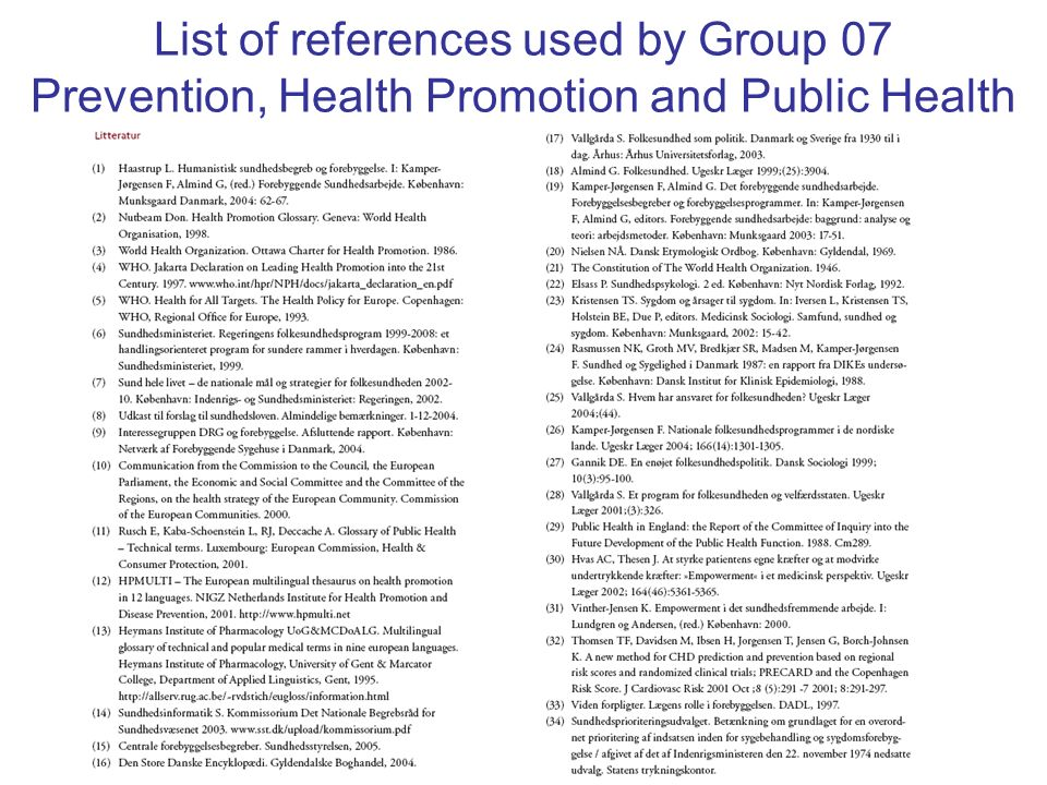 List of references used by Group 07 Prevention, Health Promotion and Public Health