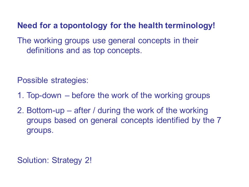 Need for a topontology for the health terminology!