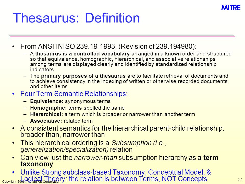 Thesaurus: Definition