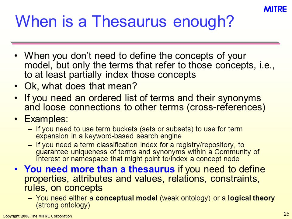 When is a Thesaurus enough