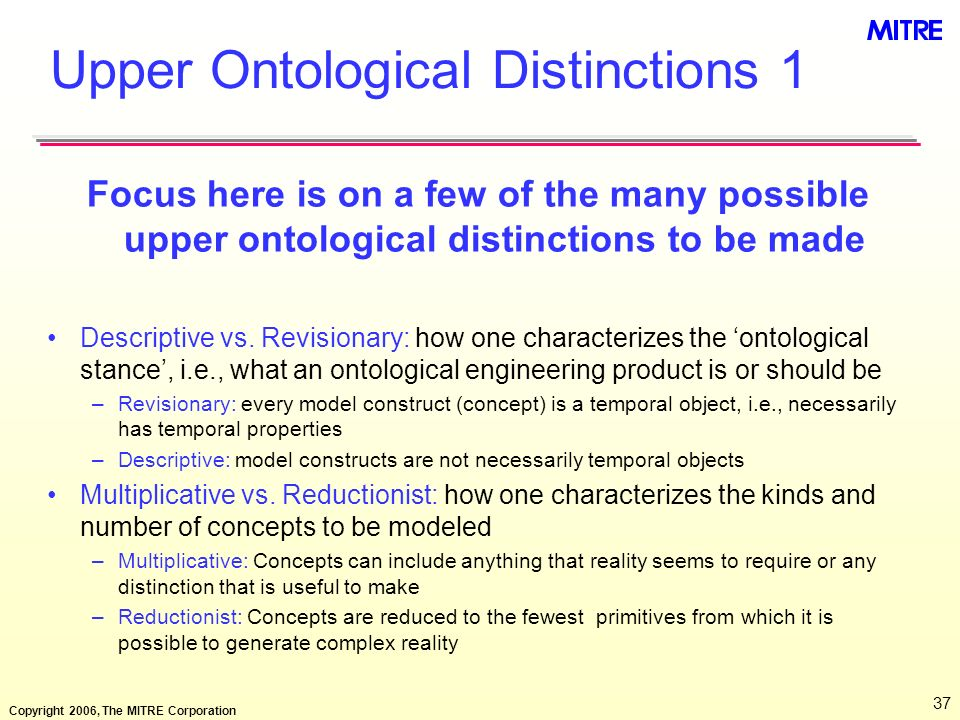 Upper Ontological Distinctions 1