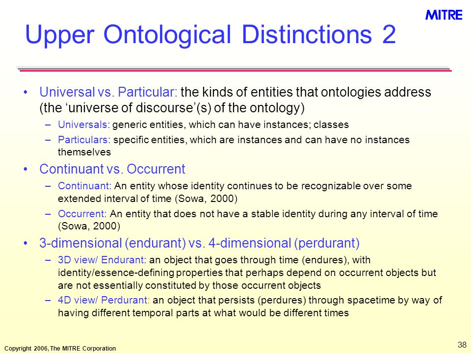 Upper Ontological Distinctions 2