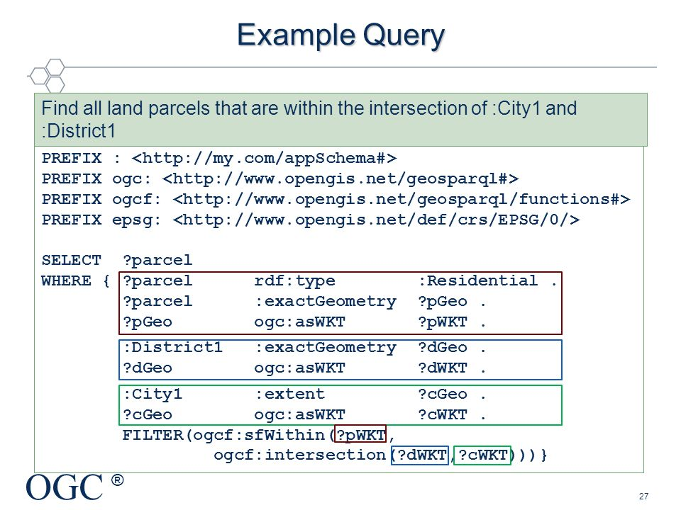 Example Query Find all land parcels that are within the intersection of :City1 and :District1. PREFIX : <http://my.com/appSchema#>