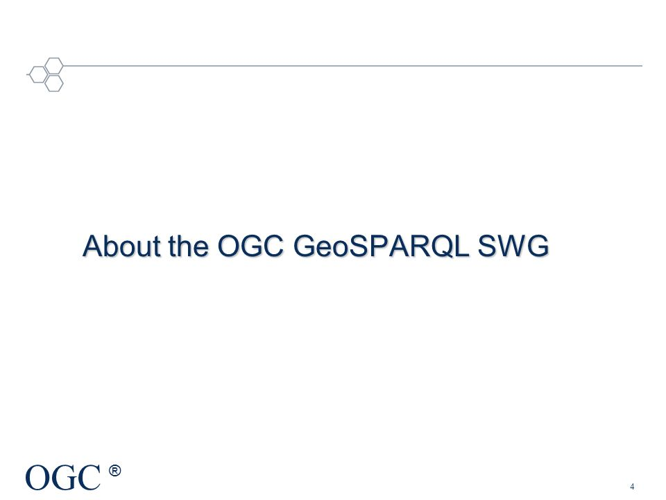 About the OGC GeoSPARQL SWG