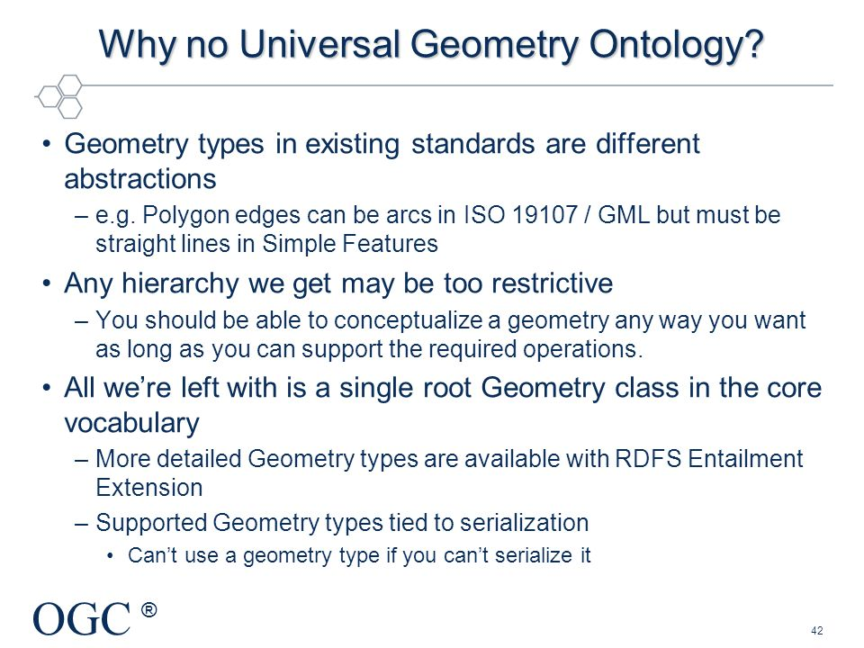 Why no Universal Geometry Ontology