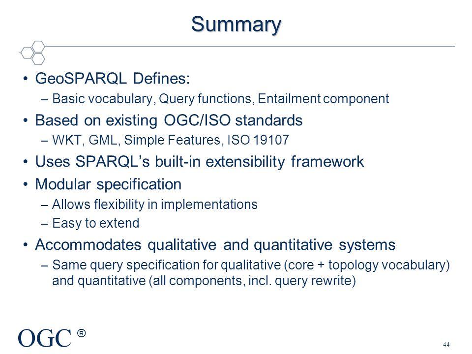 Summary GeoSPARQL Defines: Based on existing OGC/ISO standards