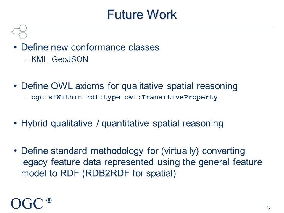 Future Work Define new conformance classes