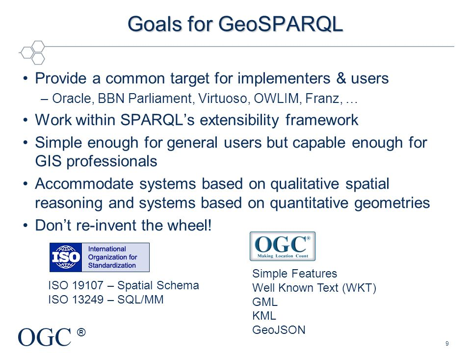 Goals for GeoSPARQL Provide a common target for implementers & users