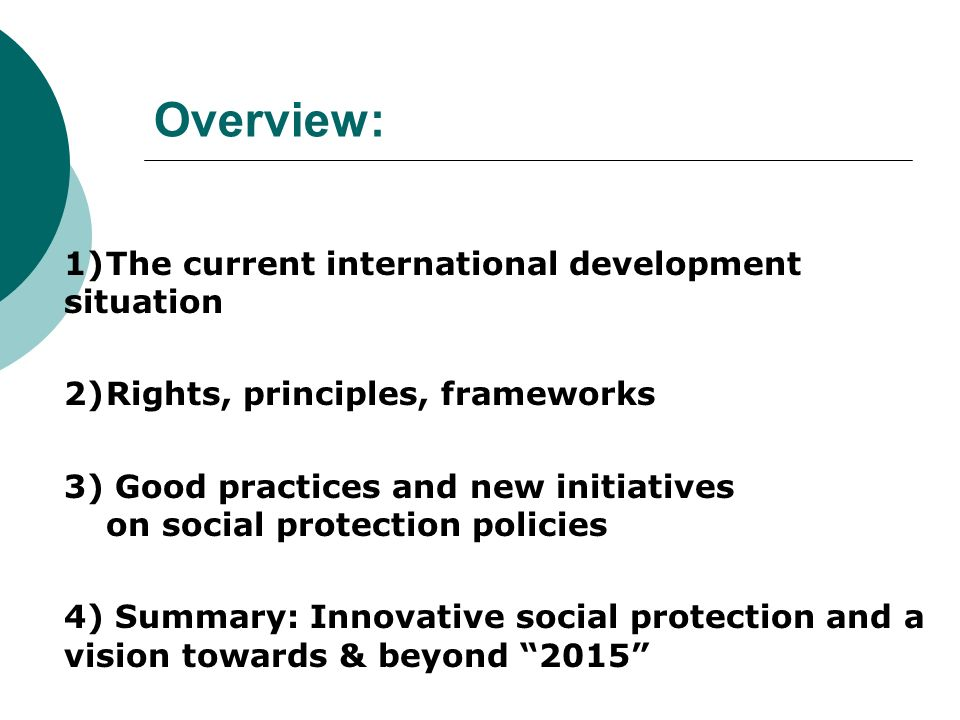 Overview: 2) Rights, principles, frameworks