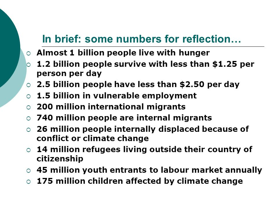 In brief: some numbers for reflection…
