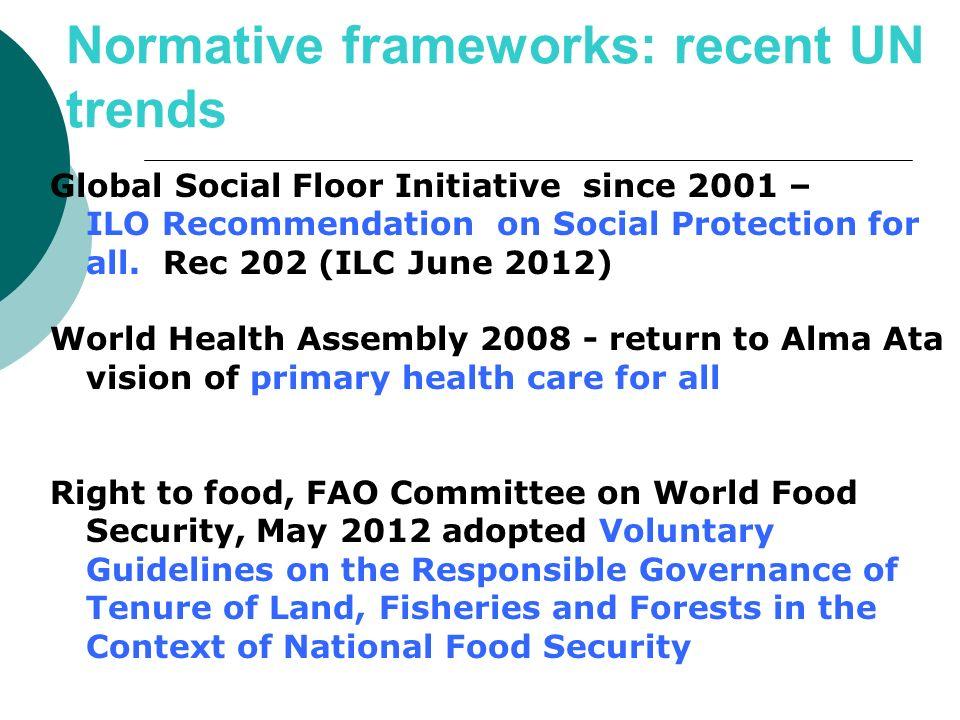 Normative frameworks: recent UN trends