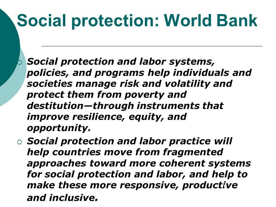 Social protection: World Bank