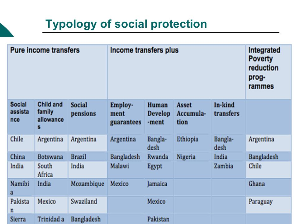 Typology of social protection