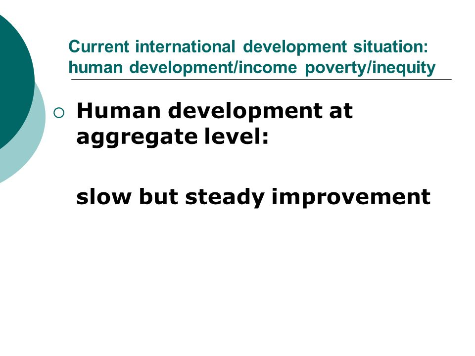 Human development at aggregate level: