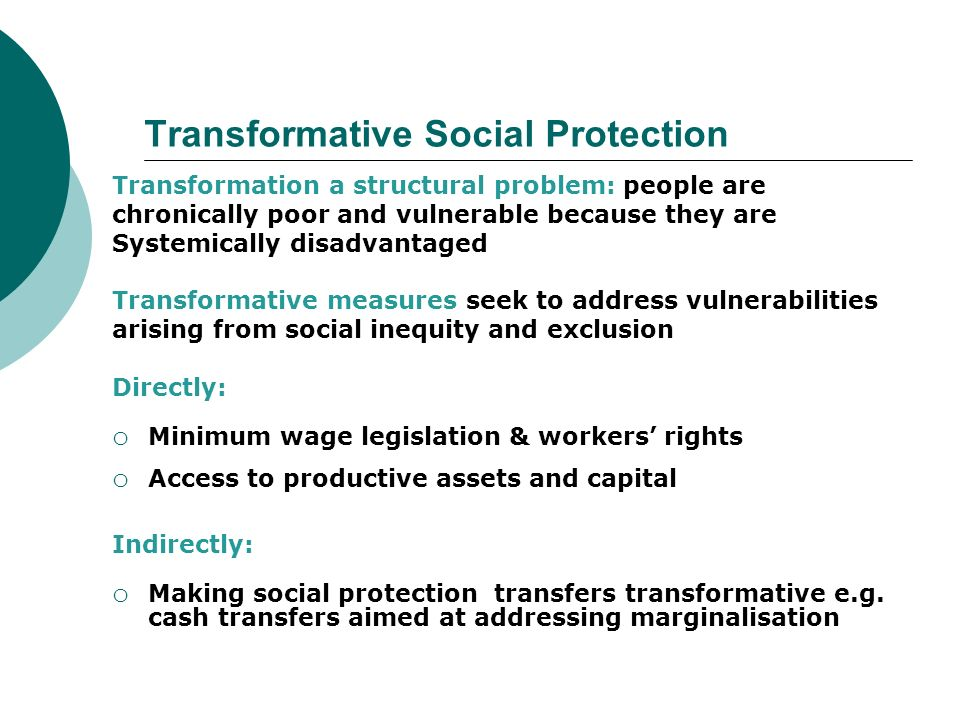 Transformative Social Protection