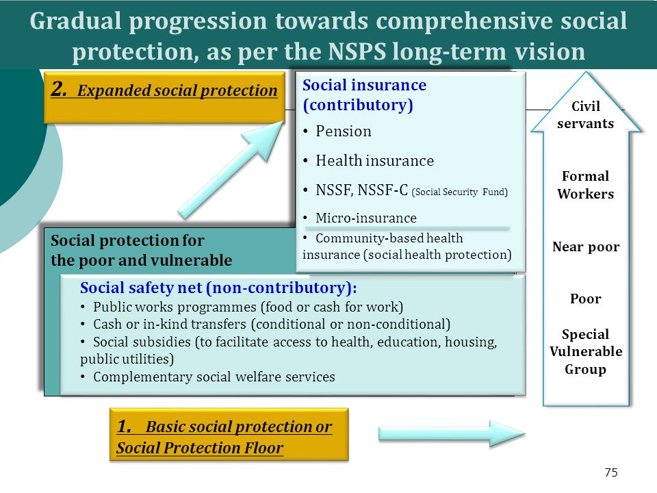 Gradual progression towards comprehensive social protection, as per the NSPS long-term vision