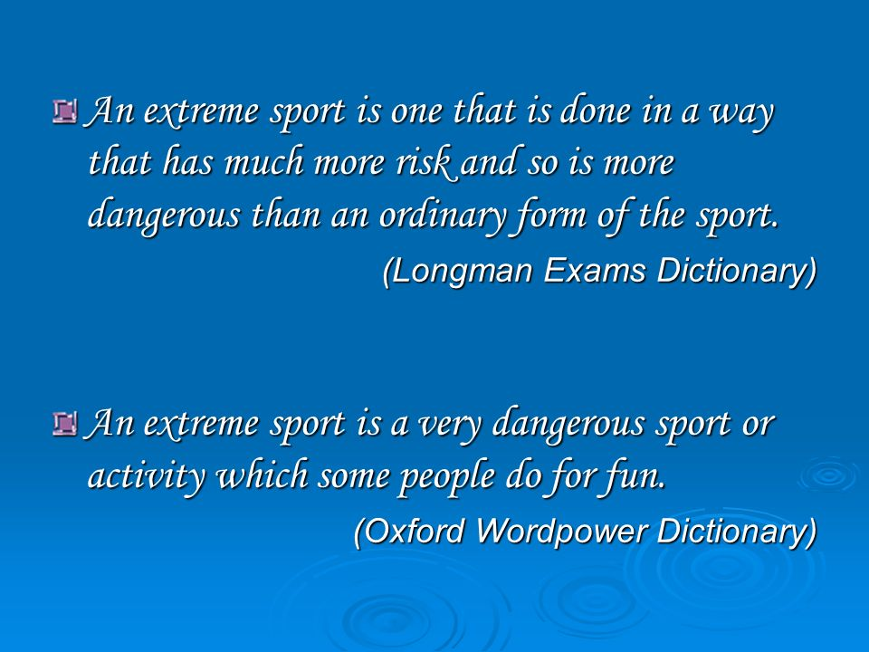 essay on dangerous sports