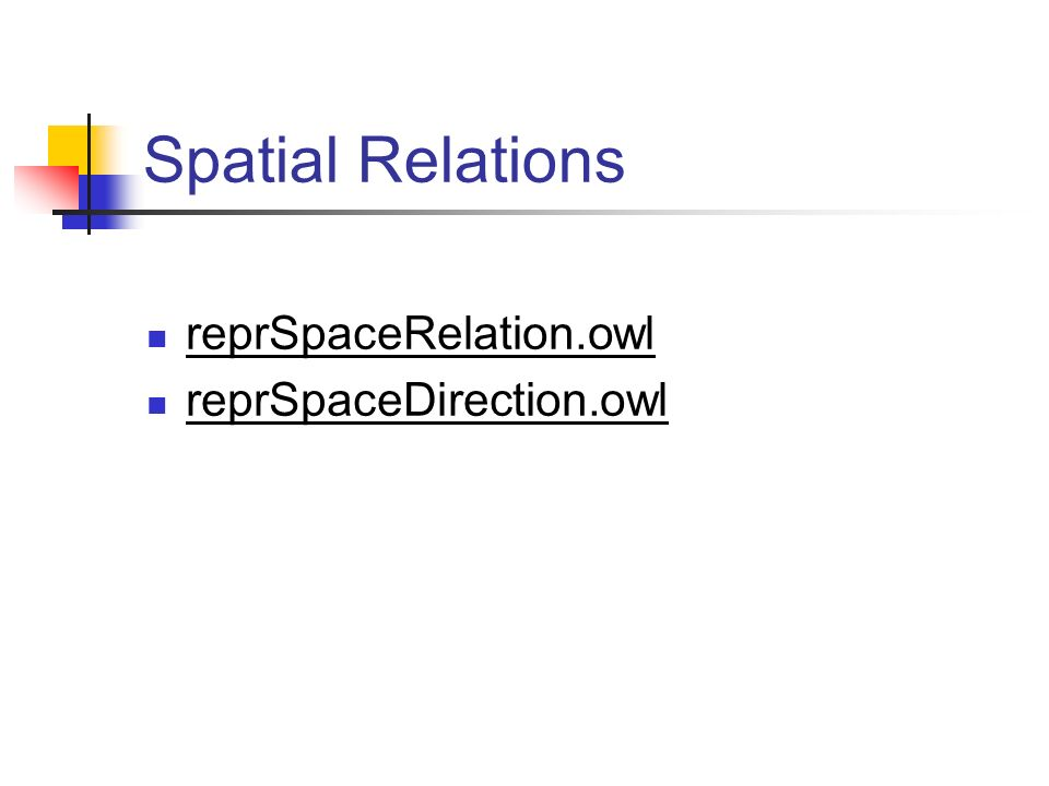 Spatial Relations reprSpaceRelation.owl reprSpaceDirection.owl