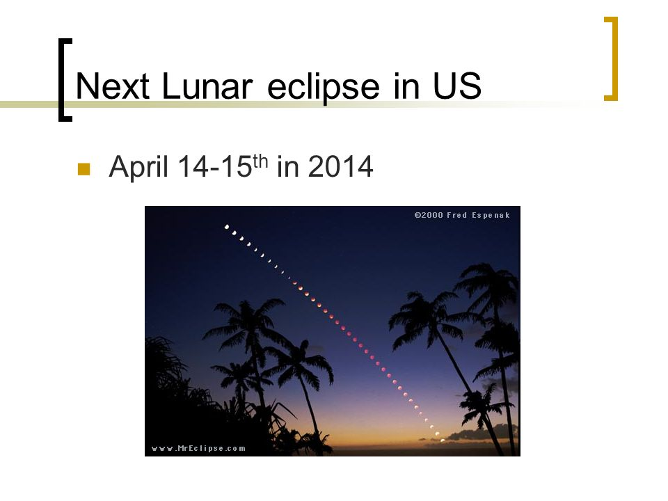 Next Lunar eclipse in US