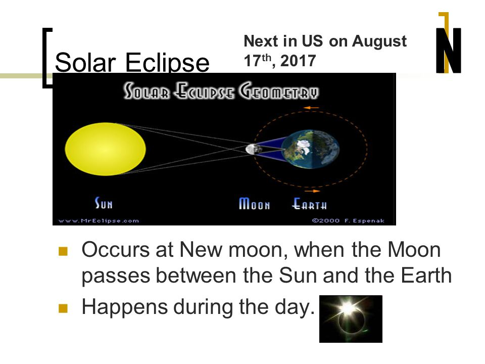 Solar Eclipse Next in US on August 17th, N. Occurs at New moon, when the Moon passes between the Sun and the Earth.