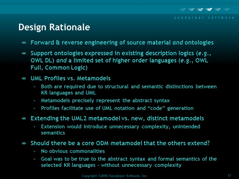Design Rationale Forward & reverse engineering of source material and ontologies.
