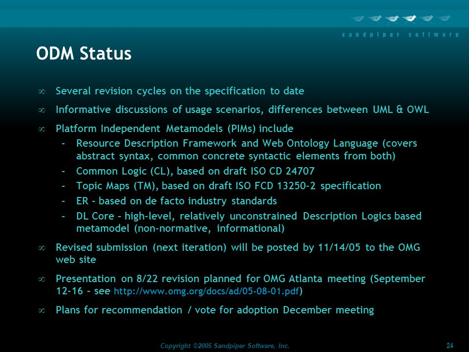 ODM Status Several revision cycles on the specification to date
