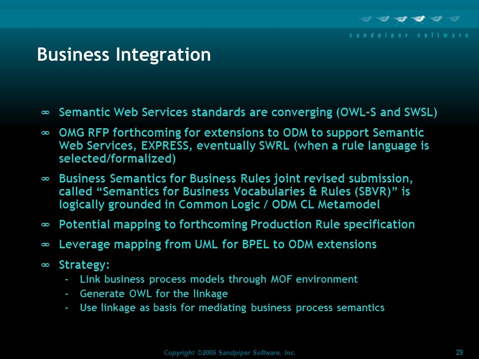 Business Integration Semantic Web Services standards are converging (OWL-S and SWSL)