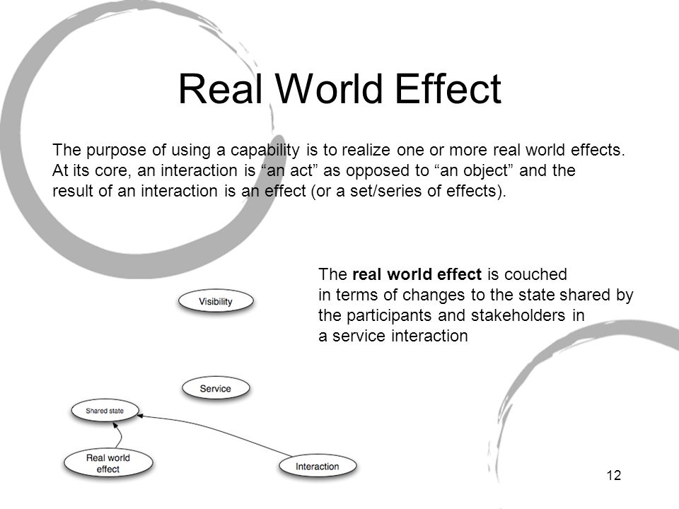 Real World Effect The purpose of using a capability is to realize one or more real world effects.
