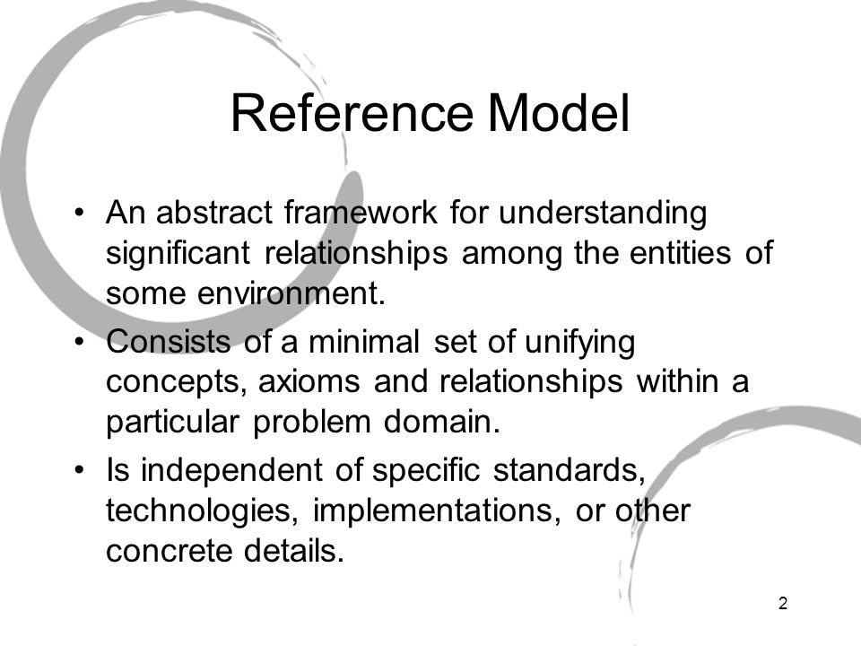 Reference Model An abstract framework for understanding significant relationships among the entities of some environment.