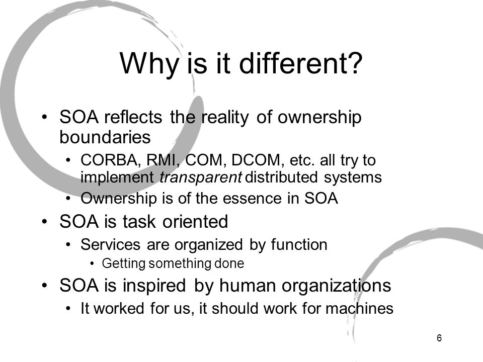 Why is it different SOA reflects the reality of ownership boundaries