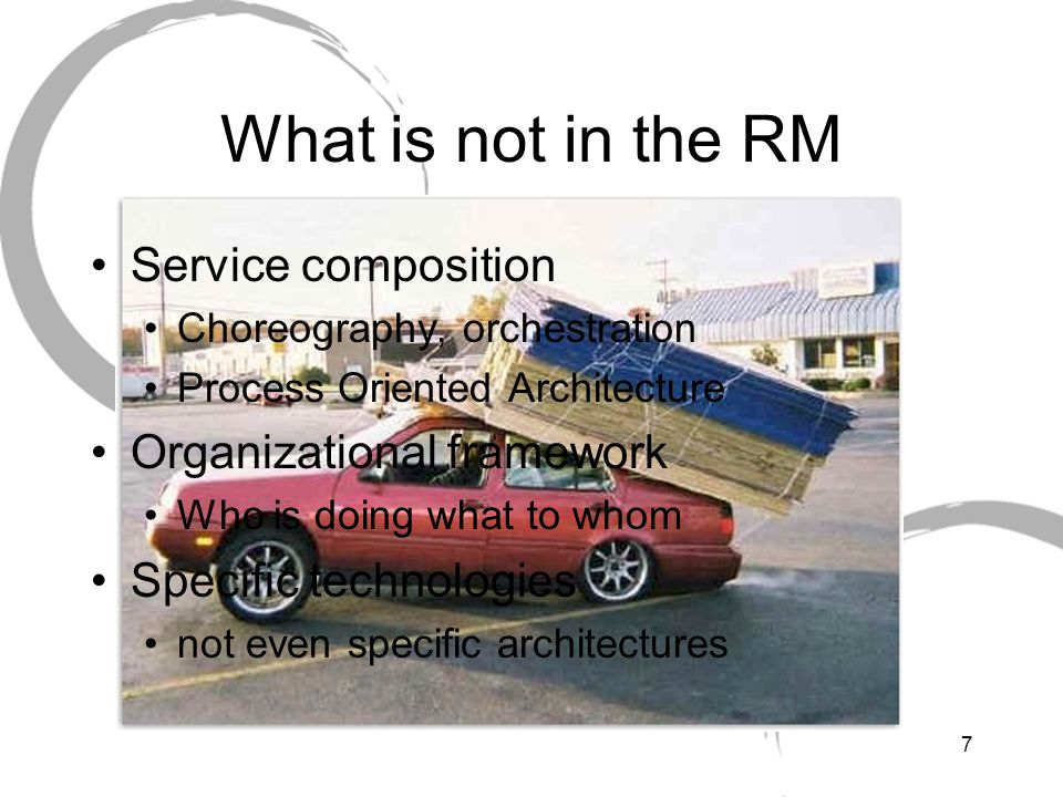 What is not in the RM Service composition Organizational framework